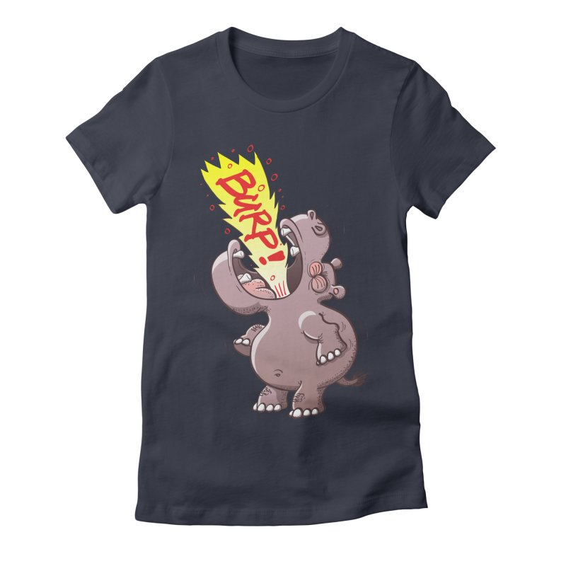 Bold chubby hippopotamus burping loudly with no shame at all Women's T-Shirt by Zoo&co's Artist Shop
