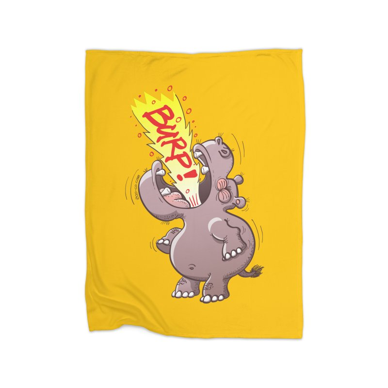 Bold chubby hippopotamus burping loudly with no shame at all Home Blanket by Zoo&co's Artist Shop