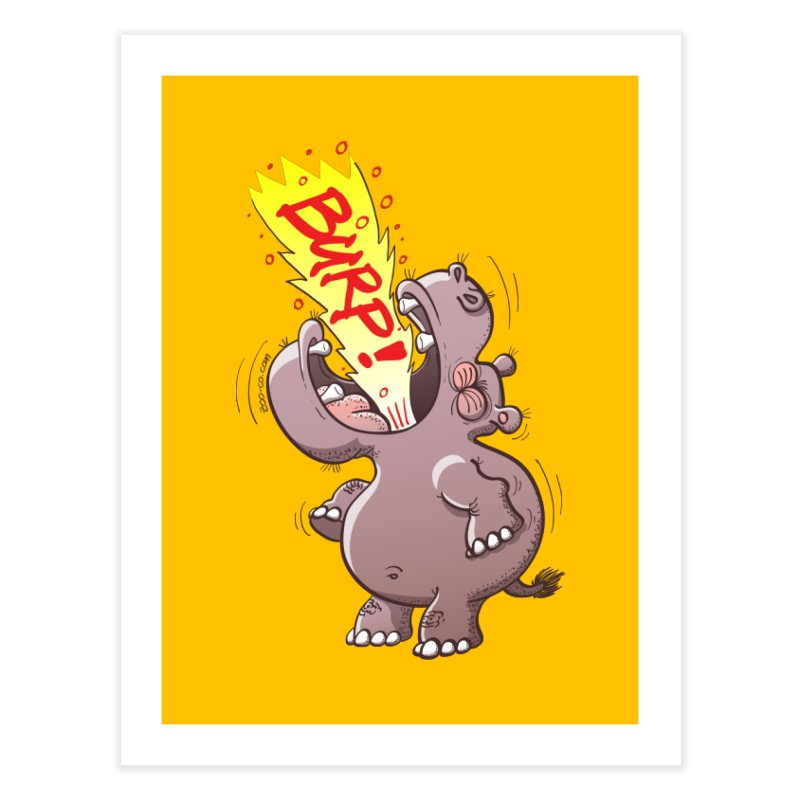 Bold chubby hippopotamus burping loudly with no shame at all Home Fine Art Print by Zoo&co's Artist Shop
