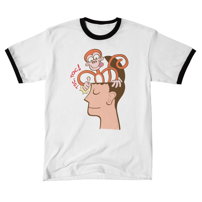 Mad monkey knocking on the forehead of a man in meditation Men's T-Shirt by Zoo&co's Artist Shop