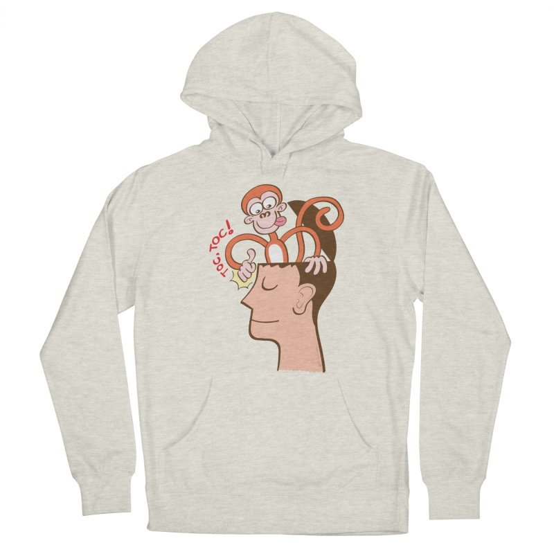 Mad monkey knocking on the forehead of a man in meditation Women's Pullover Hoody by Zoo&co's Artist Shop