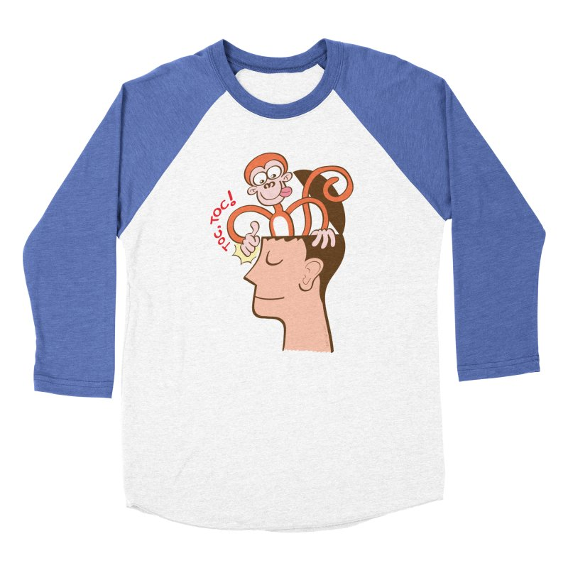 Mad monkey knocking on the forehead of a man in meditation Women's Longsleeve T-Shirt by Zoo&co's Artist Shop