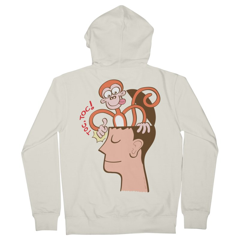 Mad monkey knocking on the forehead of a man in meditation Women's Zip-Up Hoody by Zoo&co's Artist Shop