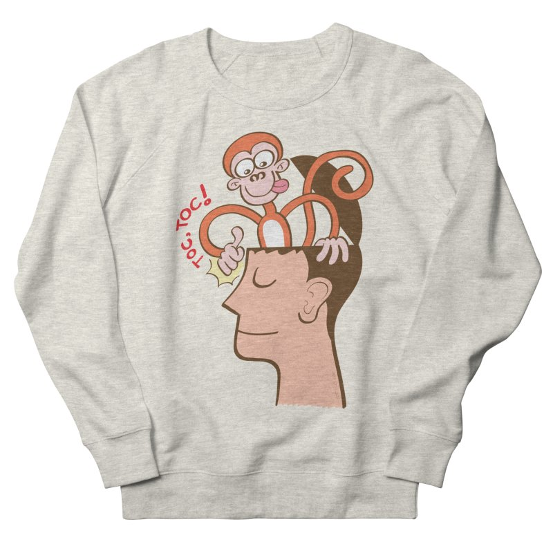 Mad monkey knocking on the forehead of a man in meditation Women's Sweatshirt by Zoo&co's Artist Shop