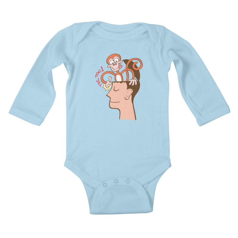 Mad monkey knocking on the forehead of a man in meditation Kids Baby Longsleeve Bodysuit by Zoo&co's Artist Shop
