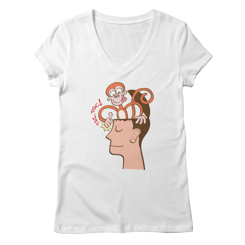 Mad monkey knocking on the forehead of a man in meditation Women's V-Neck by Zoo&co's Artist Shop