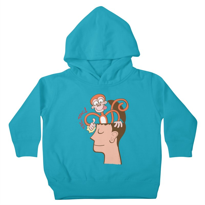 Mad monkey knocking on the forehead of a man in meditation Kids Toddler Pullover Hoody by Zoo&co's Artist Shop