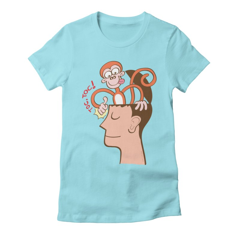 Mad monkey knocking on the forehead of a man in meditation Women's T-Shirt by Zoo&co's Artist Shop