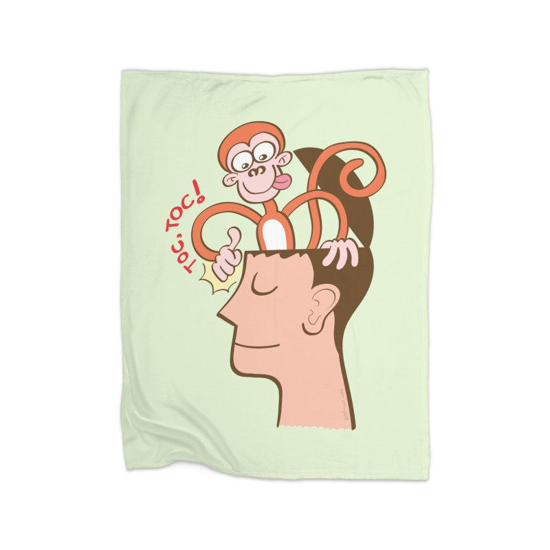 Mad monkey knocking on the forehead of a man in meditation Home Blanket by Zoo&co's Artist Shop