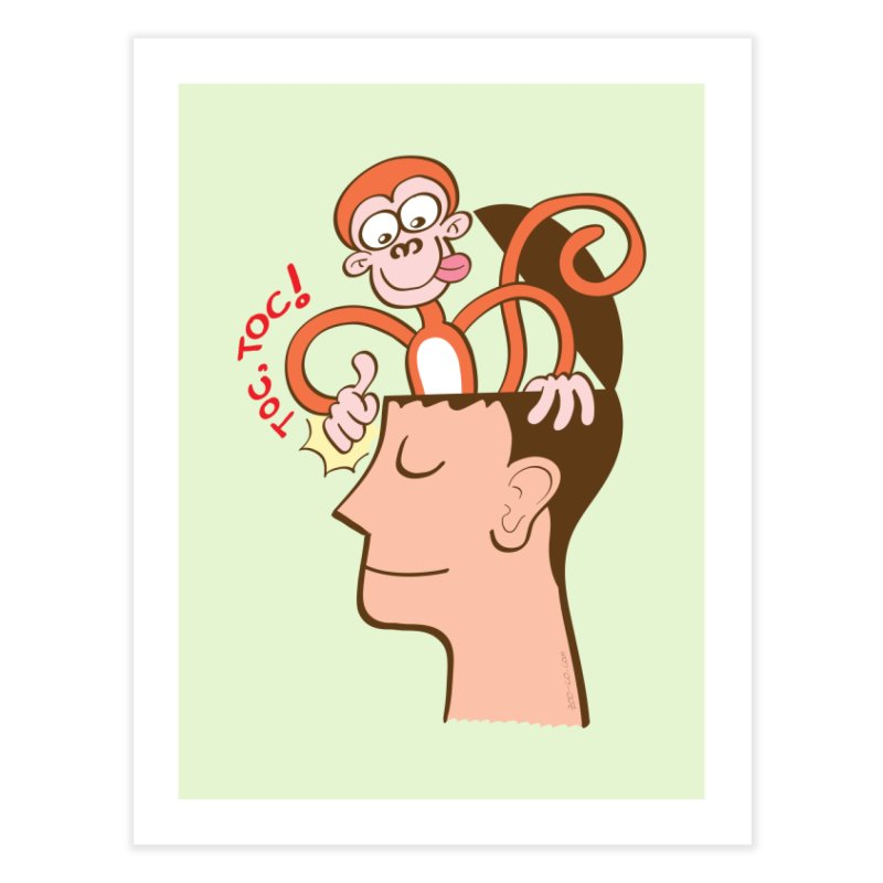 Mad monkey knocking on the forehead of a man in meditation Home Fine Art Print by Zoo&co's Artist Shop