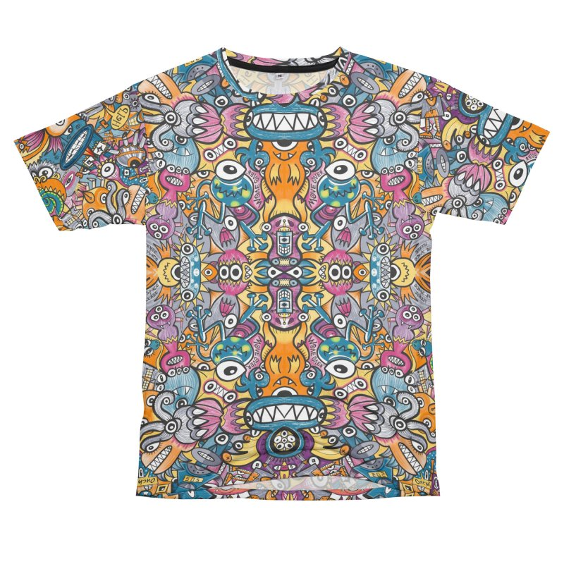 Mad monsters and odd robots struggling to get a place in a crowded pattern design Women's Cut & Sew by Zoo&co's Artist Shop