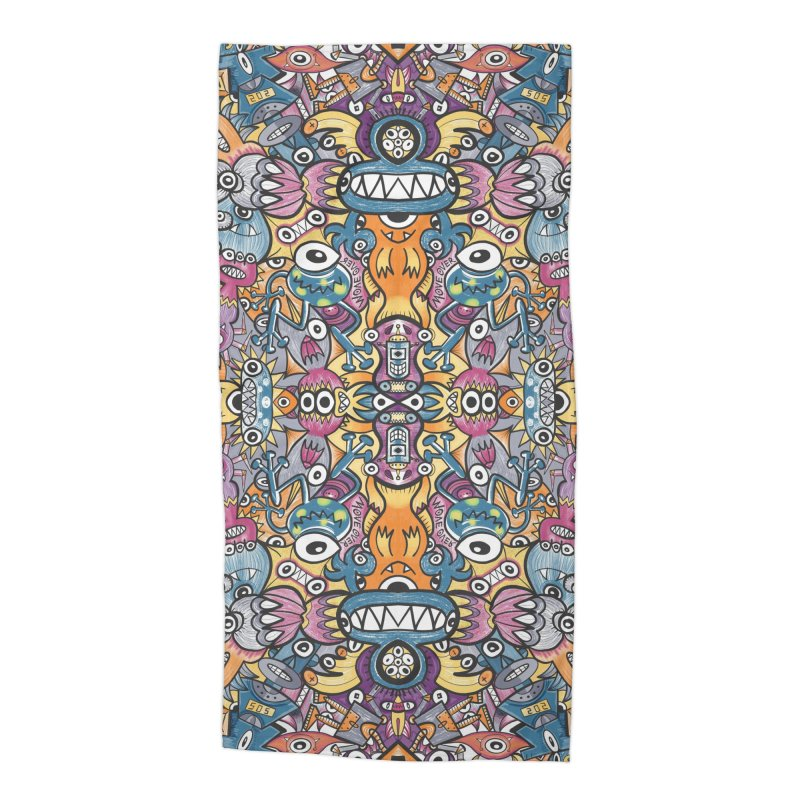 Mad monsters and odd robots struggling to get a place in a crowded pattern design Accessories Beach Towel by Zoo&co's Artist Shop