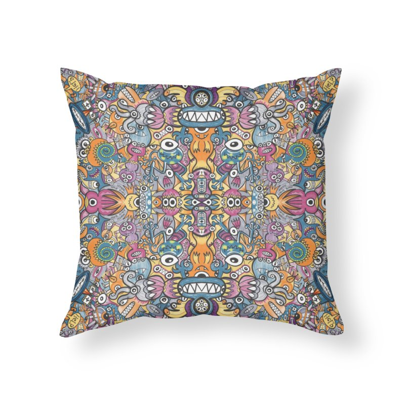 Mad monsters and odd robots struggling to get a place in a crowded pattern design Home Throw Pillow by Zoo&co's Artist Shop