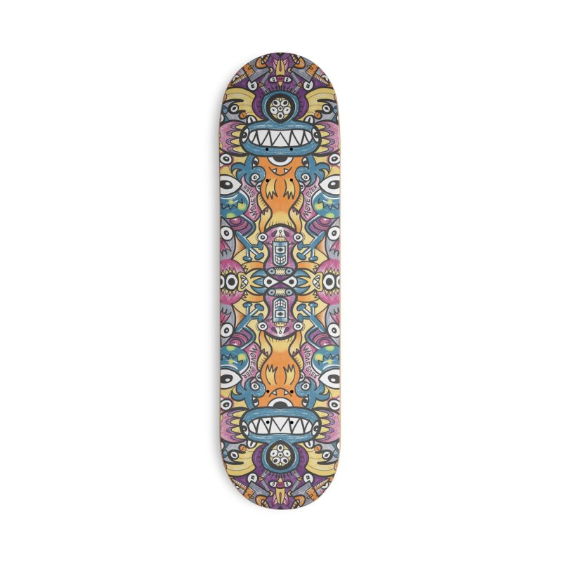 Mad monsters and odd robots struggling to get a place in a crowded pattern design Accessories Skateboard by Zoo&co's Artist Shop