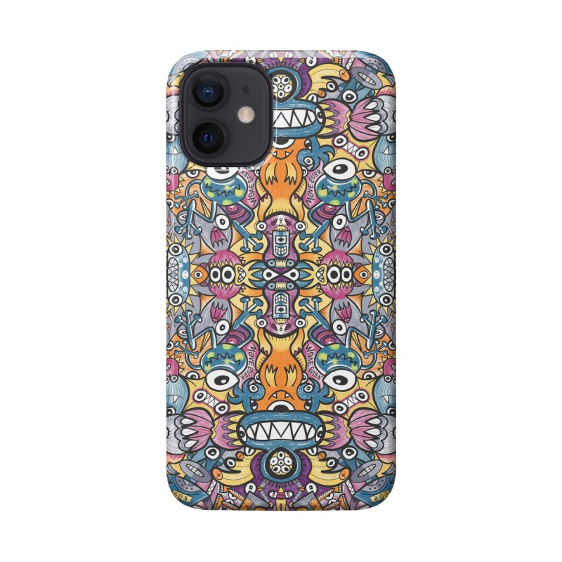 Mad monsters and odd robots struggling to get a place in a crowded pattern design Accessories Phone Case by Zoo&co's Artist Shop