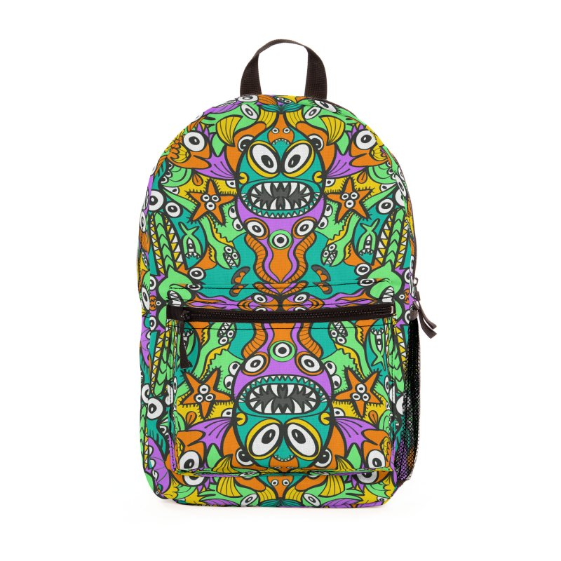 Tropical aquatic creatures in doodle art style forming a colorful pattern design Accessories Bag by Zoo&co's Artist Shop