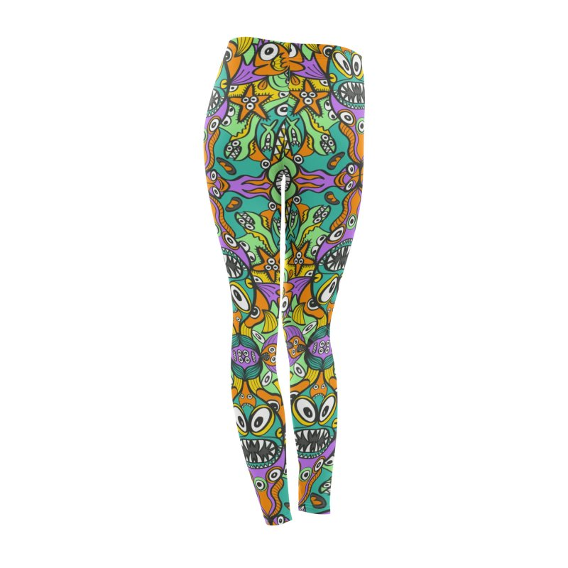 Tropical aquatic creatures in doodle art style forming a colorful pattern design Women's Bottoms by Zoo&co's Artist Shop