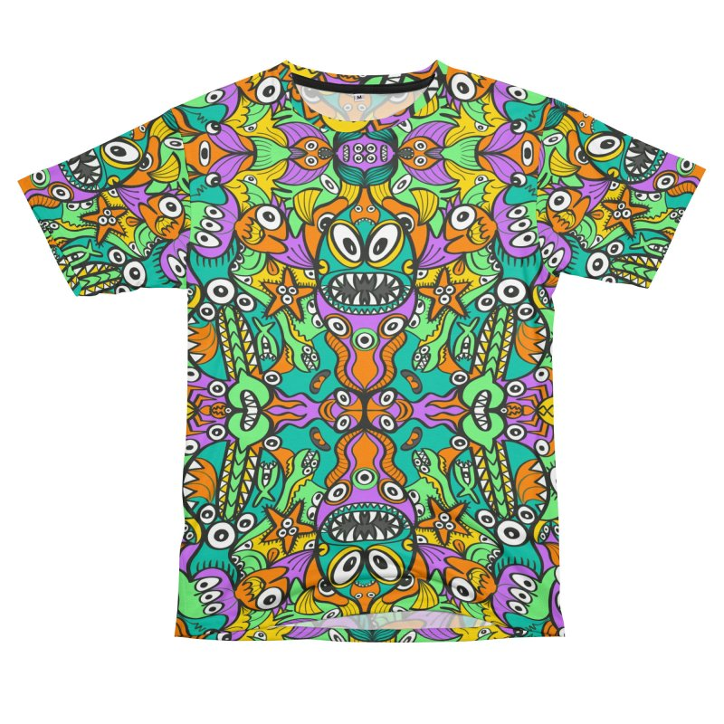 Tropical aquatic creatures in doodle art style forming a colorful pattern design Men's Cut & Sew by Zoo&co's Artist Shop