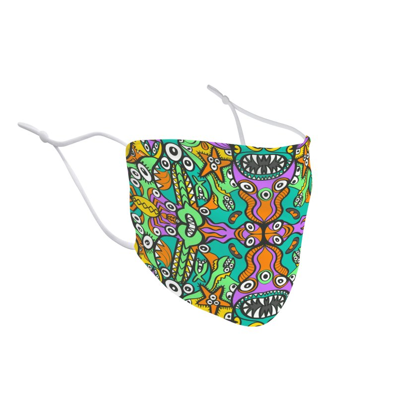 Tropical aquatic creatures in doodle art style forming a colorful pattern design Accessories Face Mask by Zoo&co's Artist Shop