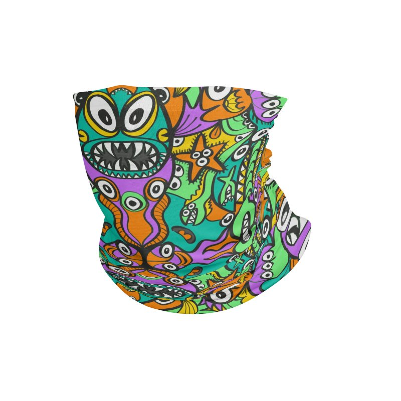 Tropical aquatic creatures in doodle art style forming a colorful pattern design Accessories Neck Gaiter by Zoo&co's Artist Shop
