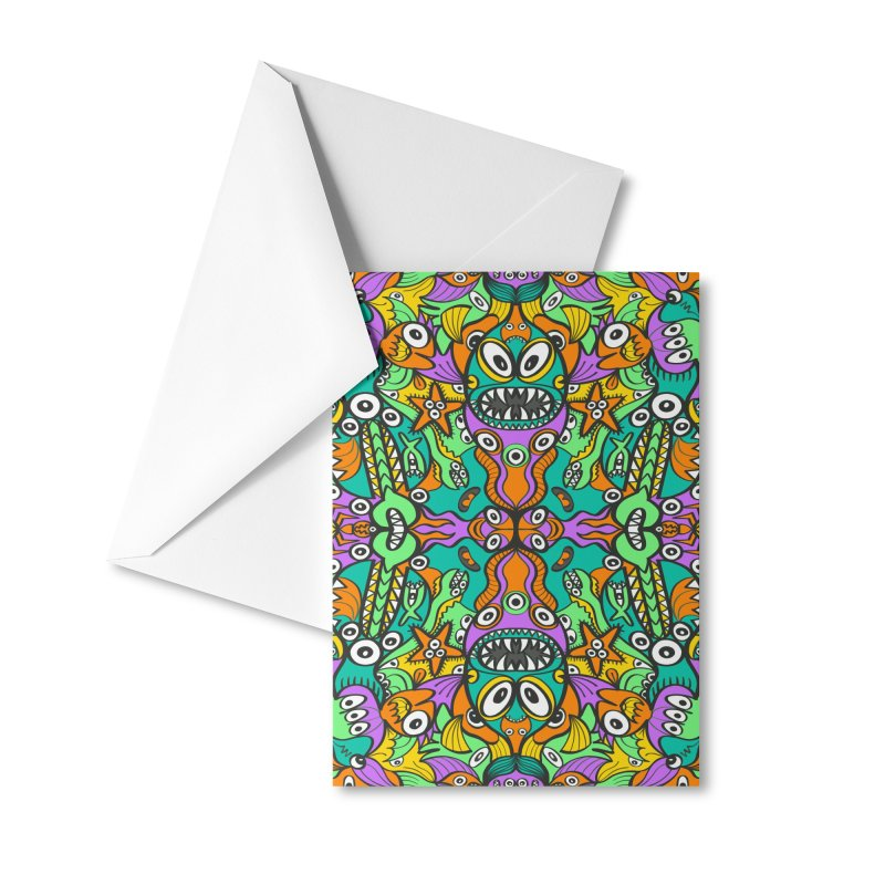 Tropical aquatic creatures in doodle art style forming a colorful pattern design Accessories Greeting Card by Zoo&co's Artist Shop