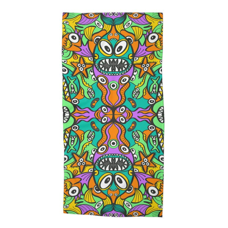 Tropical aquatic creatures in doodle art style forming a colorful pattern design Accessories Beach Towel by Zoo&co's Artist Shop