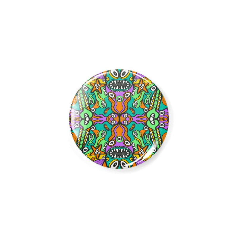 Tropical aquatic creatures in doodle art style forming a colorful pattern design Accessories Button by Zoo&co's Artist Shop