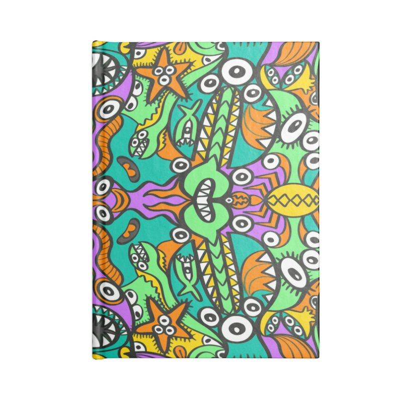 Tropical aquatic creatures in doodle art style forming a colorful pattern design Accessories Notebook by Zoo&co's Artist Shop