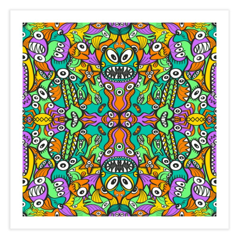 Tropical aquatic creatures in doodle art style forming a colorful pattern design Home Fine Art Print by Zoo&co's Artist Shop