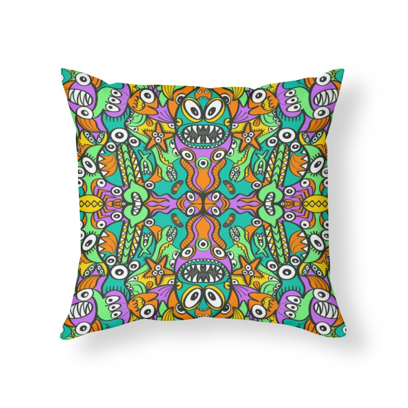 Tropical aquatic creatures in doodle art style forming a colorful pattern design Home Throw Pillow by Zoo&co's Artist Shop