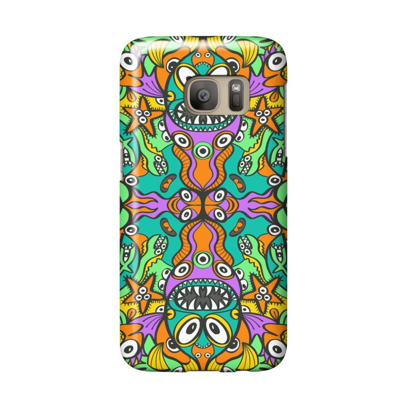 Tropical aquatic creatures in doodle art style forming a colorful pattern design Accessories Phone Case by Zoo&co's Artist Shop