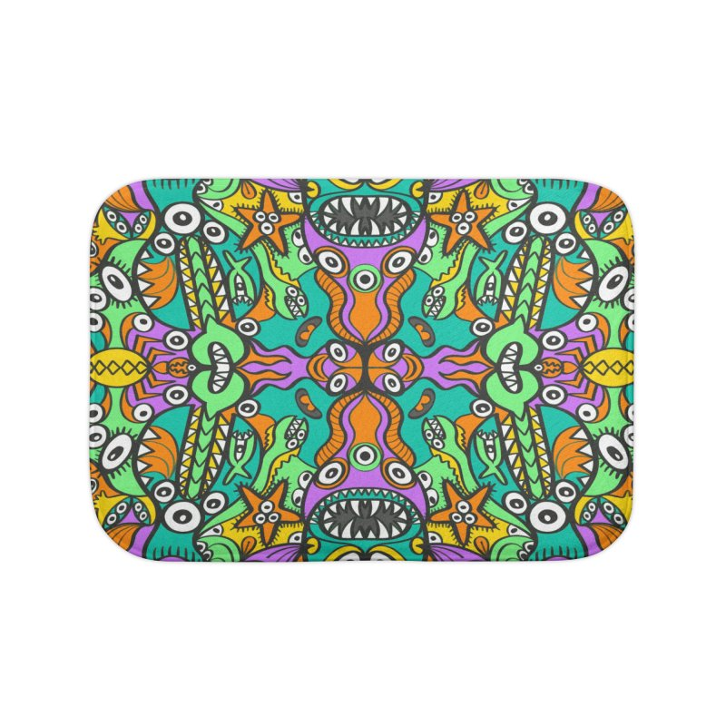 Tropical aquatic creatures in doodle art style forming a colorful pattern design Home Bath Mat by Zoo&co's Artist Shop