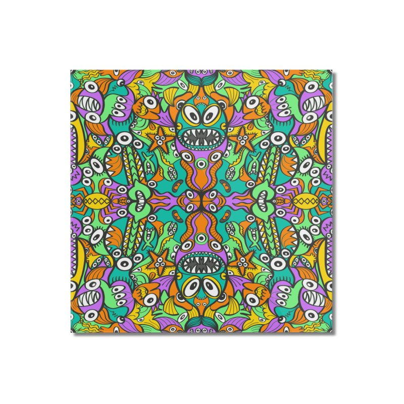 Tropical aquatic creatures in doodle art style forming a colorful pattern design Home Mounted Acrylic Print by Zoo&co's Artist Shop