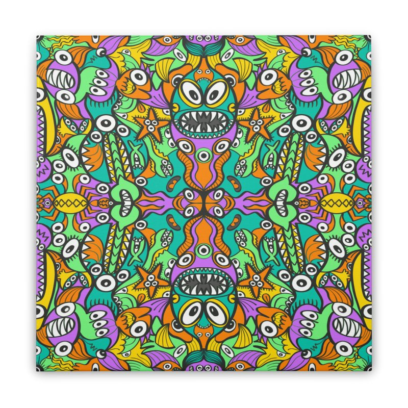 Tropical aquatic creatures in doodle art style forming a colorful pattern design Home Stretched Canvas by Zoo&co's Artist Shop