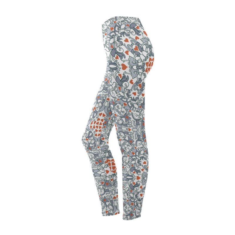 Kisses of love in a mandala design for Valentine's Day Women's Bottoms by Zoo&co's Artist Shop