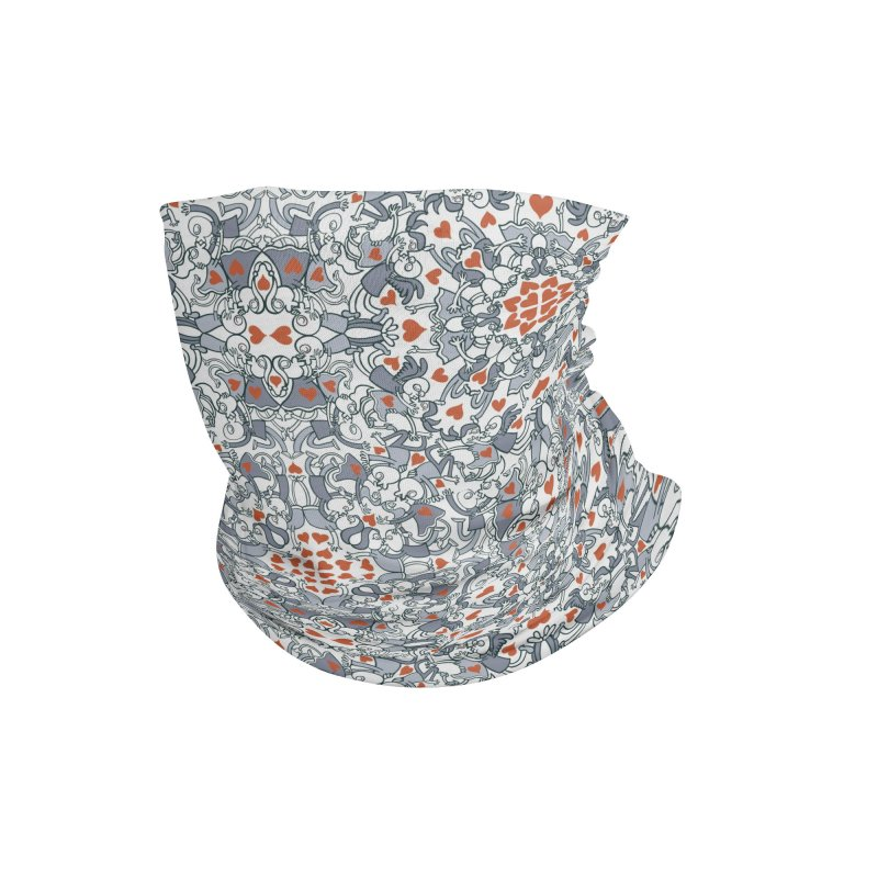 Kisses of love in a mandala design for Valentine's Day Accessories Neck Gaiter by Zoo&co's Artist Shop