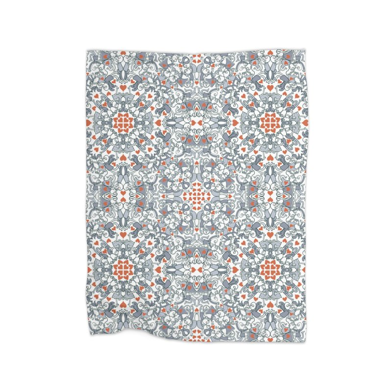 Kisses of love in a mandala design for Valentine's Day Home Blanket by Zoo&co's Artist Shop