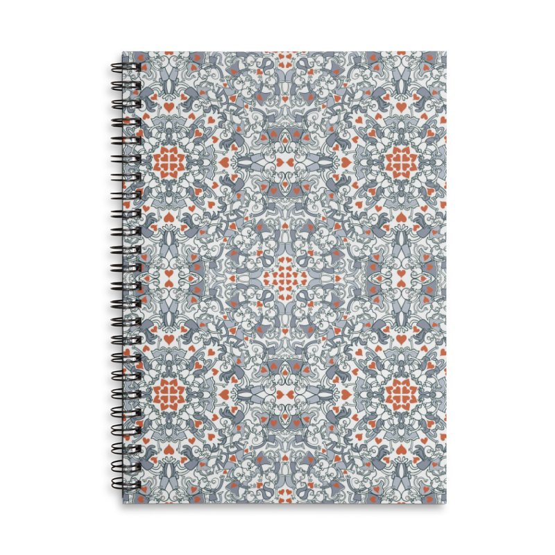 Kisses of love in a mandala design for Valentine's Day Accessories Notebook by Zoo&co's Artist Shop