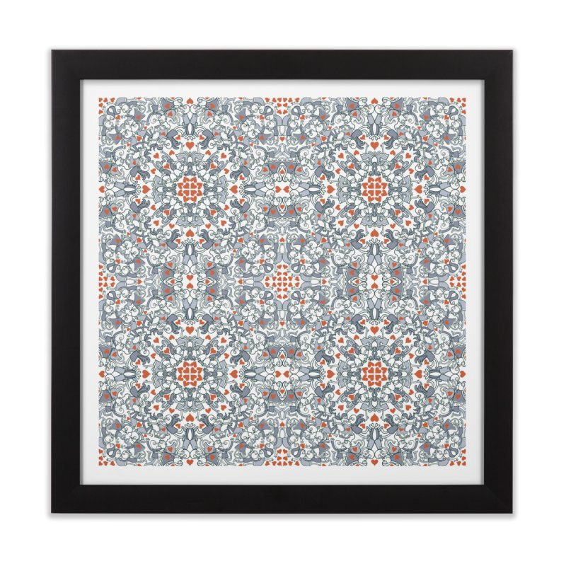 Kisses of love in a mandala design for Valentine's Day Home Framed Fine Art Print by Zoo&co's Artist Shop