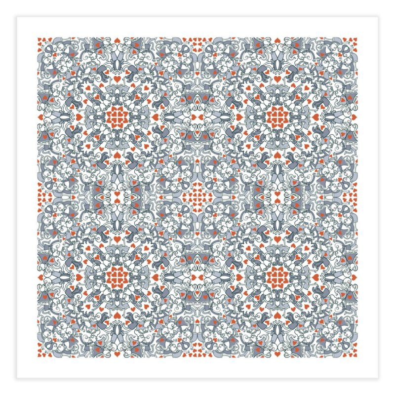 Kisses of love in a mandala design for Valentine's Day Home Fine Art Print by Zoo&co's Artist Shop