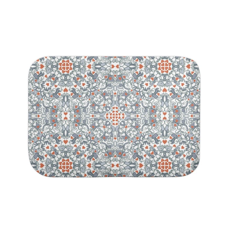 Kisses of love in a mandala design for Valentine's Day Home Bath Mat by Zoo&co's Artist Shop