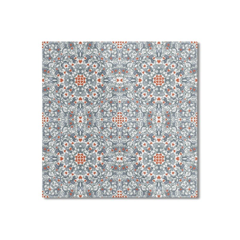 Kisses of love in a mandala design for Valentine's Day Home Mounted Aluminum Print by Zoo&co's Artist Shop