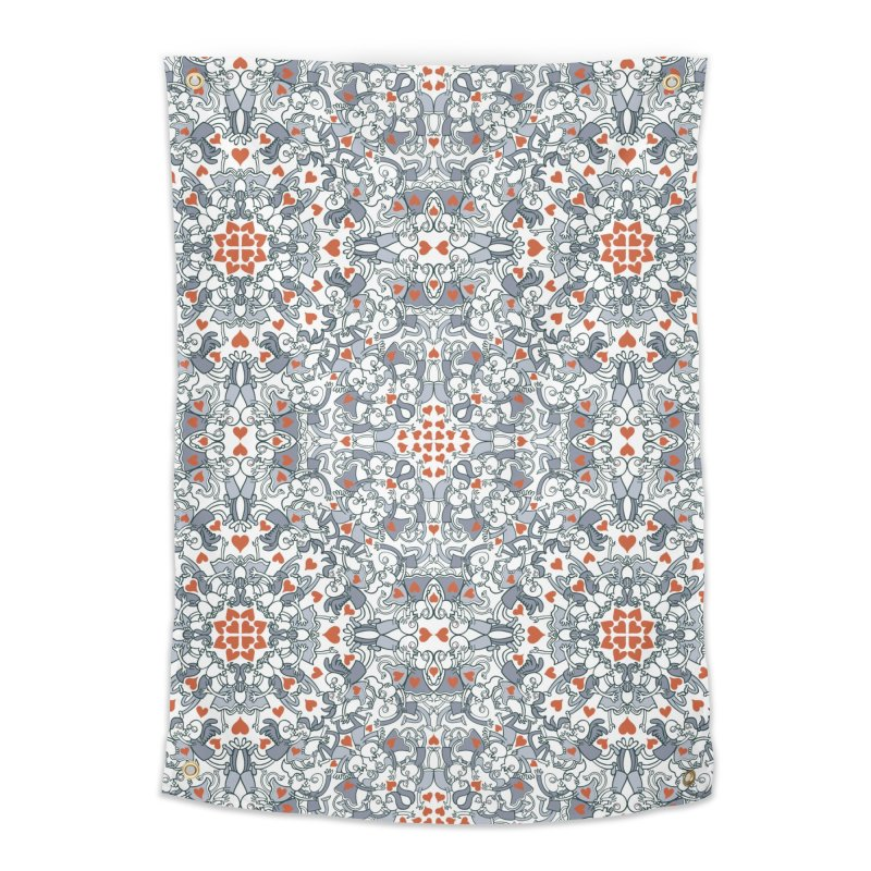 Kisses of love in a mandala design for Valentine's Day Home Tapestry by Zoo&co's Artist Shop