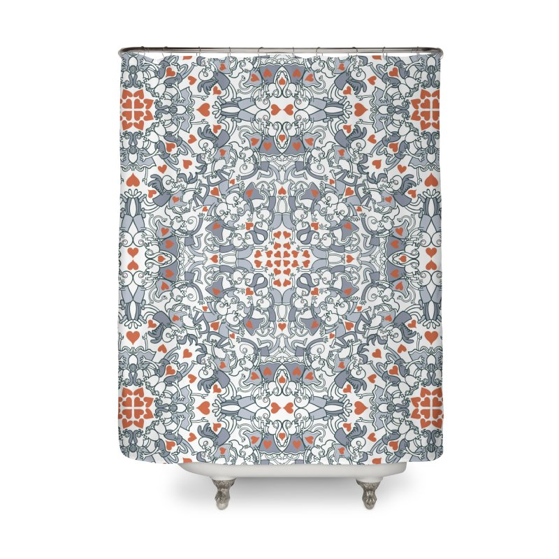 Kisses of love in a mandala design for Valentine's Day Home Shower Curtain by Zoo&co's Artist Shop