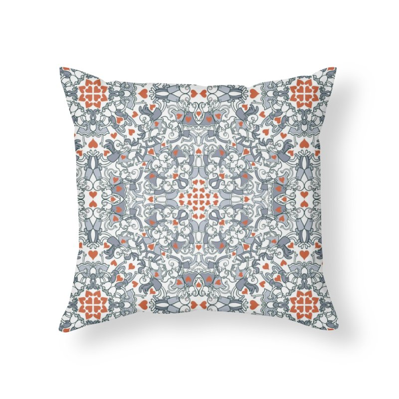 Kisses of love in a mandala design for Valentine's Day Home Throw Pillow by Zoo&co's Artist Shop