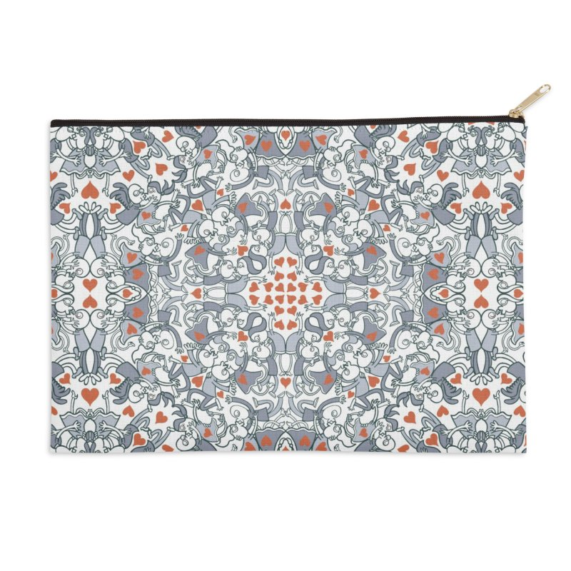 Kisses of love in a mandala design for Valentine's Day Accessories Zip Pouch by Zoo&co's Artist Shop