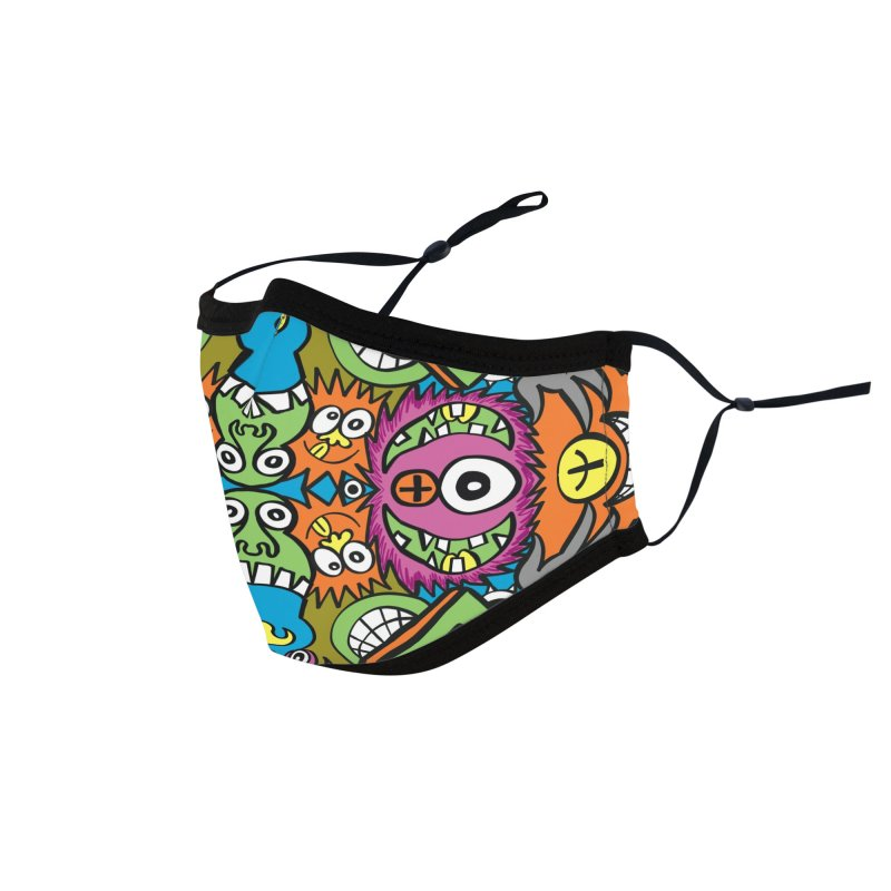 Funny smiling characters in a whimsical pattern design Accessories Face Mask by Zoo&co's Artist Shop