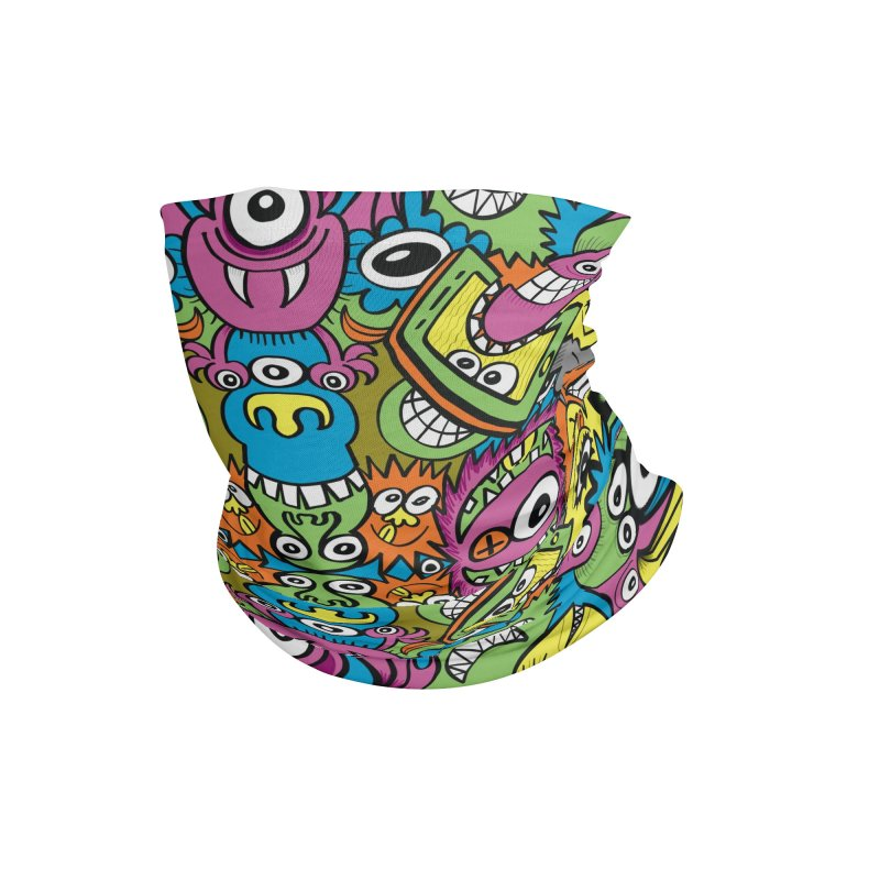 Funny smiling characters in a whimsical pattern design Accessories Neck Gaiter by Zoo&co's Artist Shop