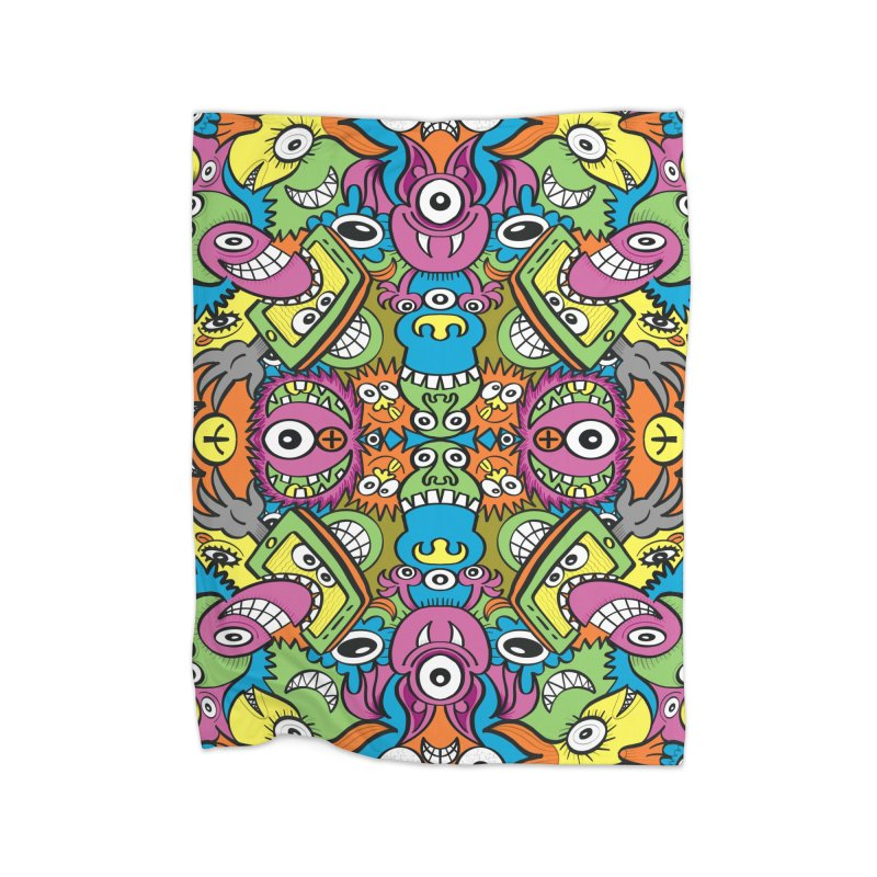 Funny smiling characters in a whimsical pattern design Home Blanket by Zoo&co's Artist Shop