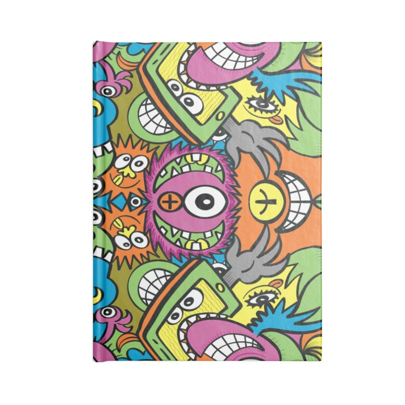 Funny smiling characters in a whimsical pattern design Accessories Notebook by Zoo&co's Artist Shop
